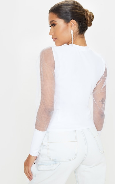 White Fitted Mesh Sleeve Top