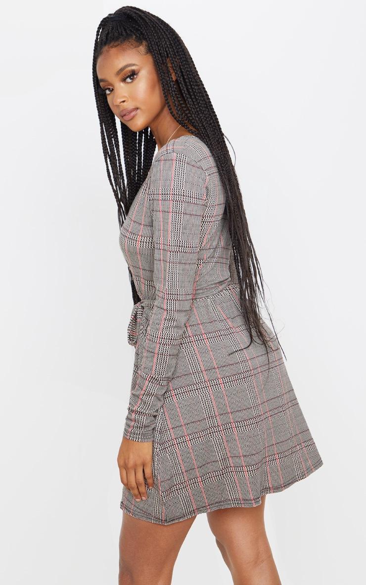 Beige Check Print Wrap Long Sleeve Tea Dress 2