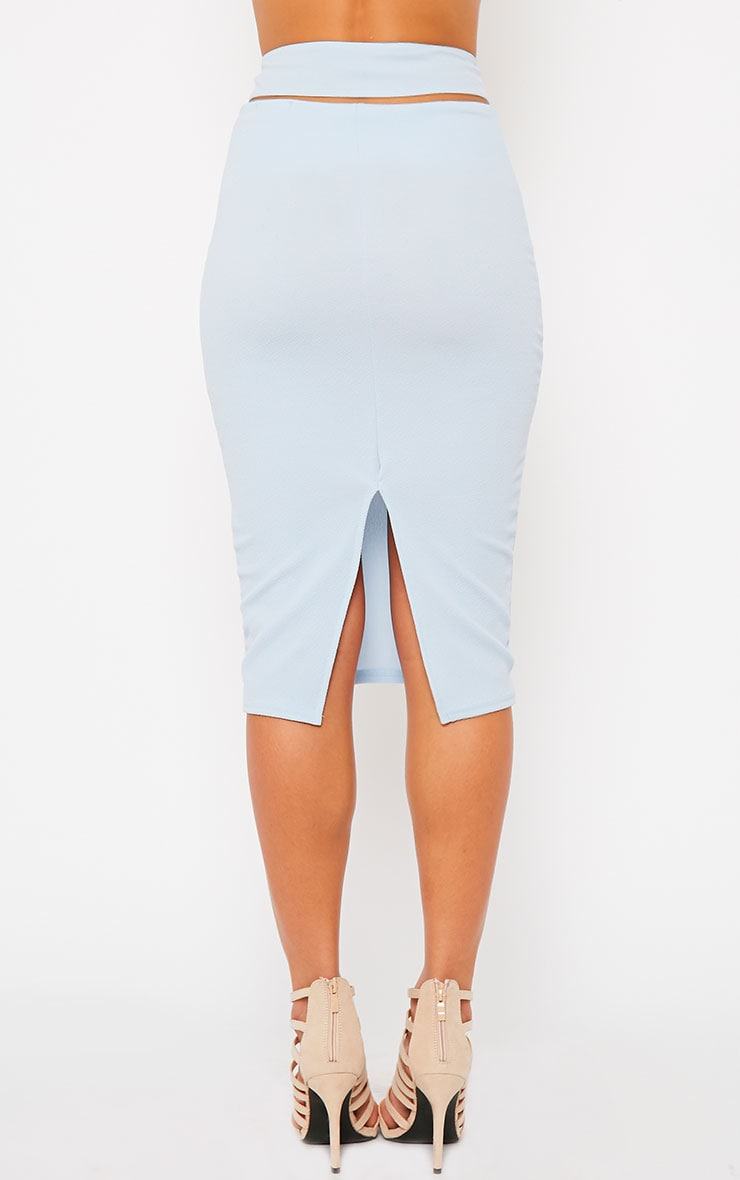 Shanel Blue Cut Out Midi Skirt 4