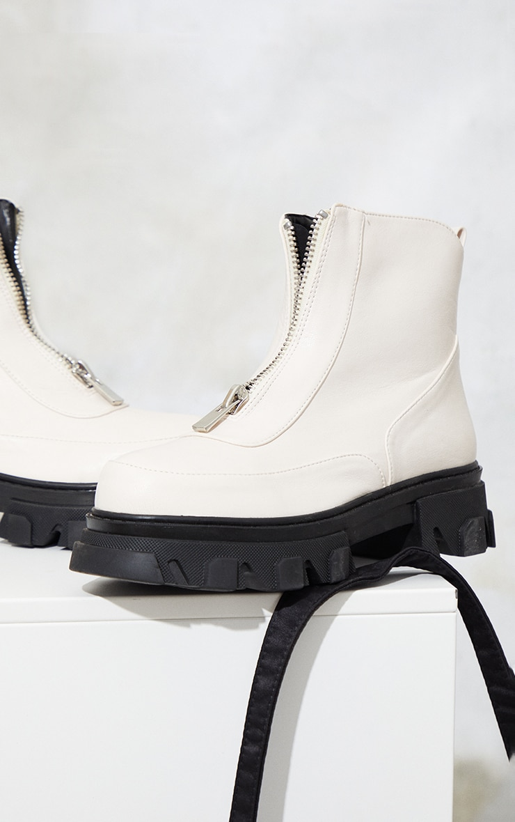 Cream PU Double Cleated Sole Zip Front Ankle Boots 4