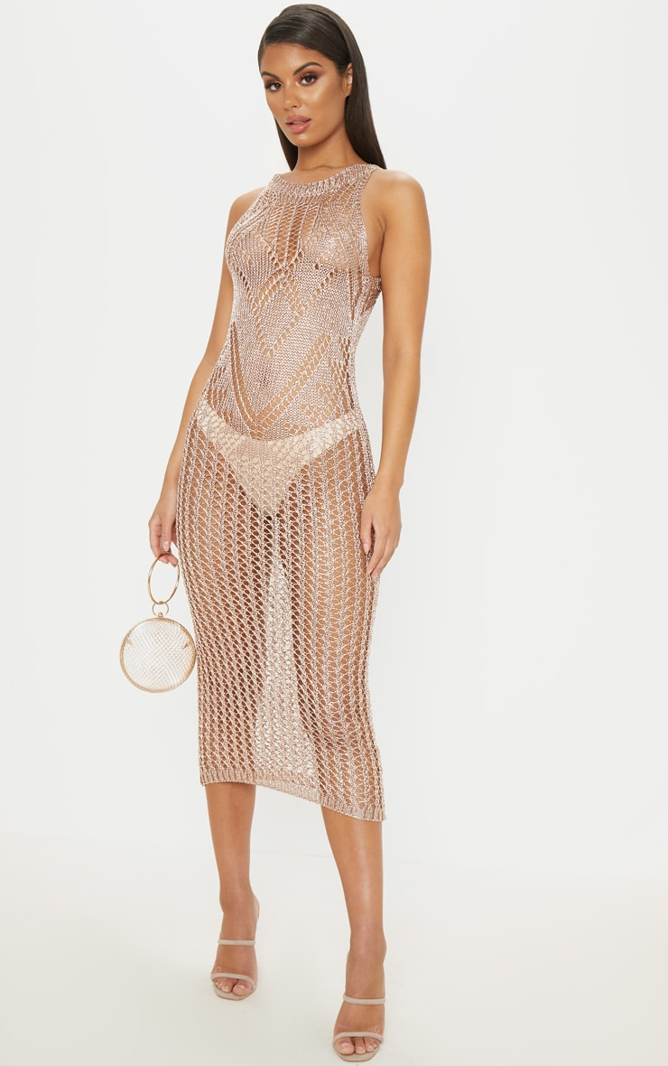Rose Gold Metallic Knitted Chain Detail Sleeveless Midi Dress