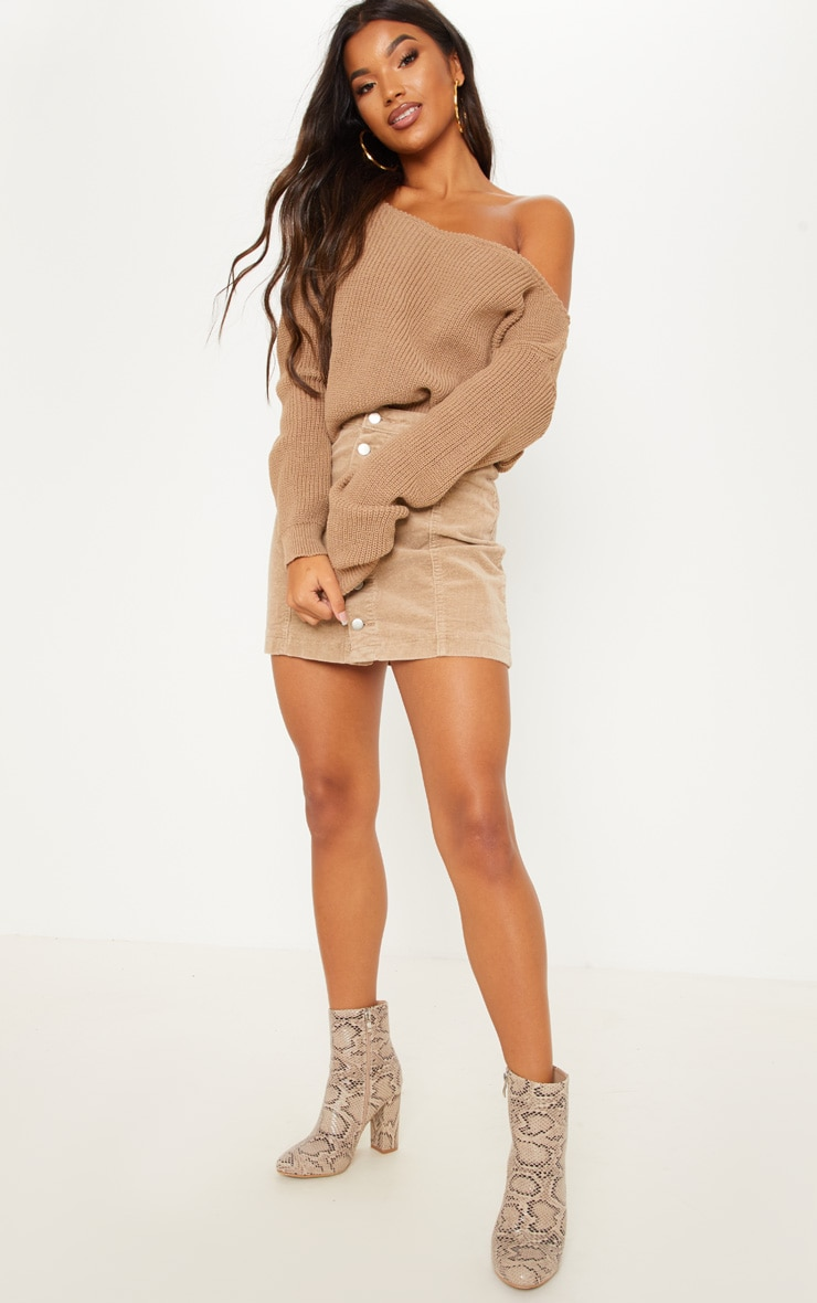 Taupe Off The Shoulder Knitted Crop Jumper 4