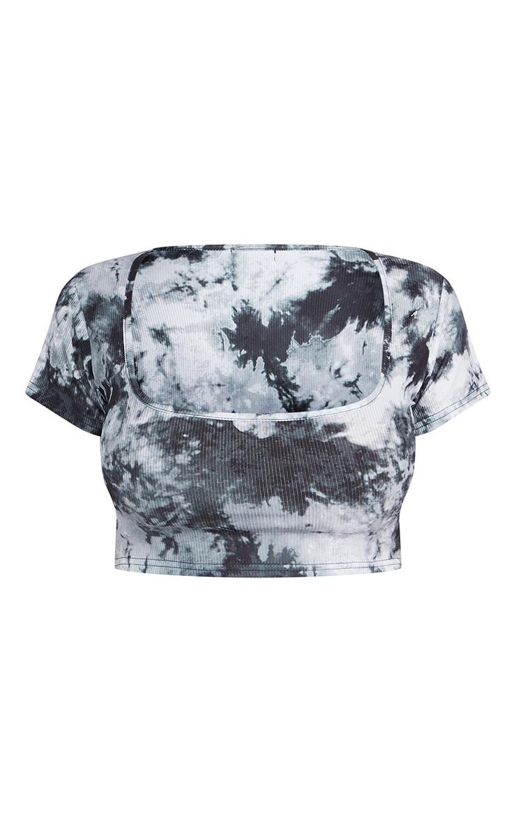 Shape Black Tie Dye Rib Square Neck Crop Top 5