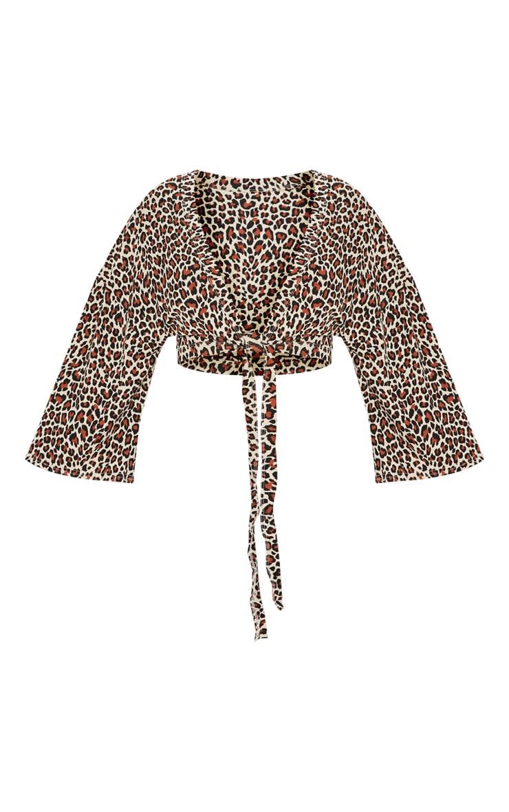 Brown Leopard Print Tie Front Crop Top 3