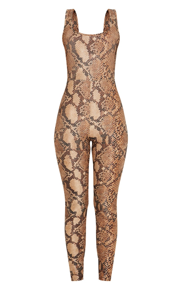 Brown Snake Print Glitter Square Neck Jumpsuit 3