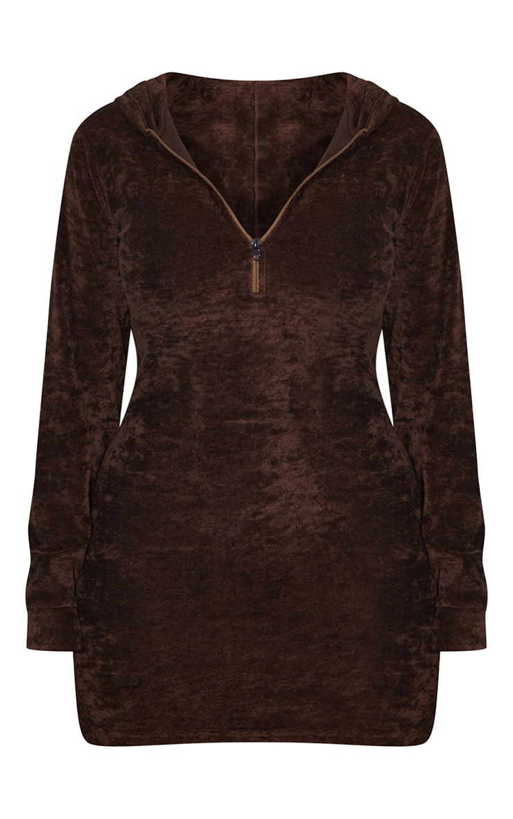 PRETTYLITTLETHING Shape Chocolate Brown Embroidered Hooded Bodycon Dress 5
