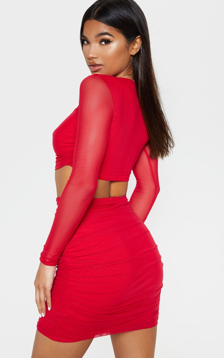 Red Mesh Square Neck Crop Top 2