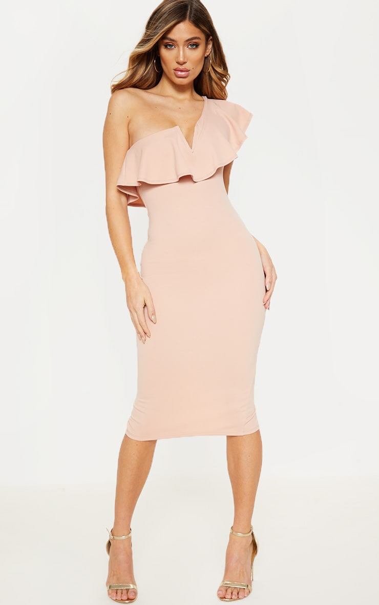 Nude V Bar One Shoulder Midi Dress