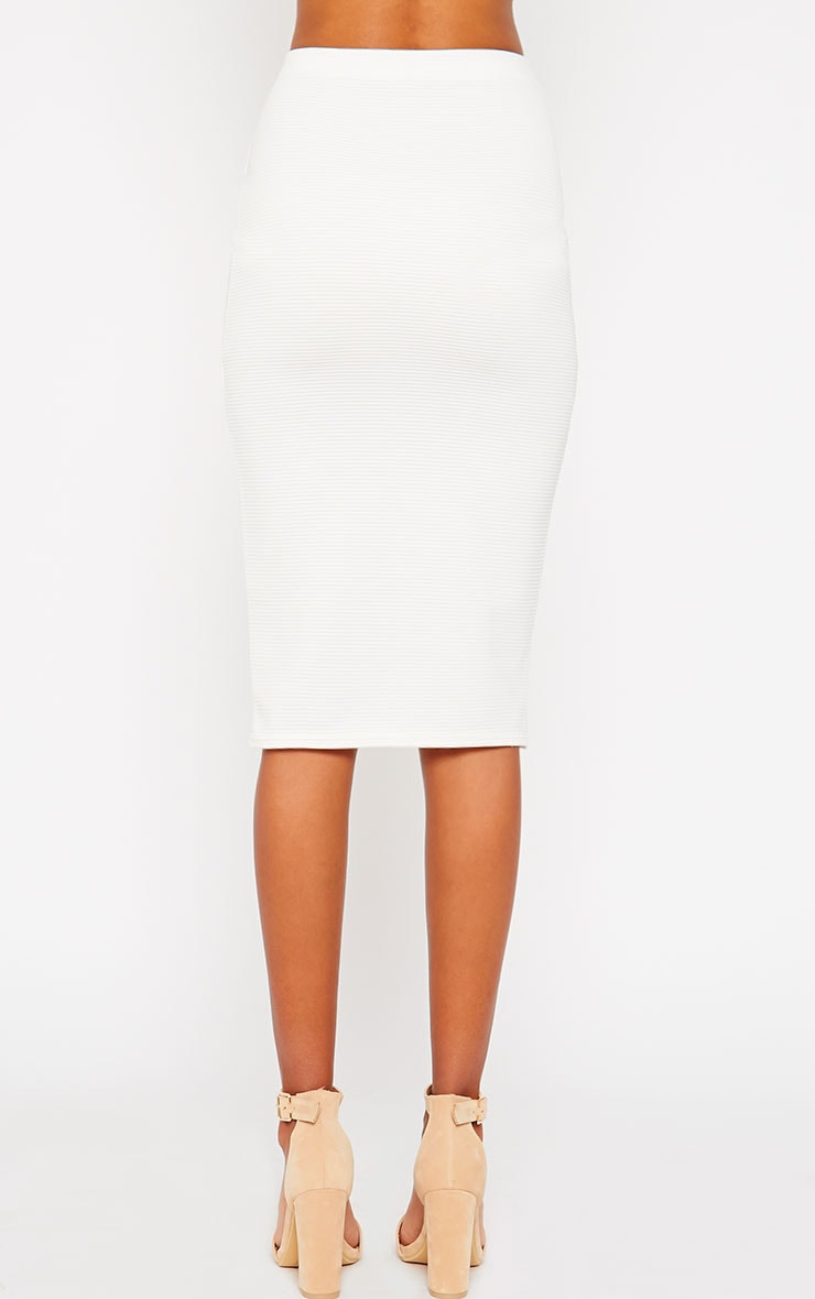 Morgan Cream Ribbed Midi Skirt 4