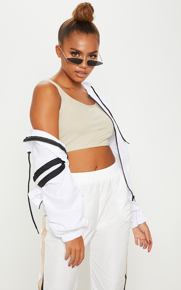 White Stripe Detail Tracksuit Jacket