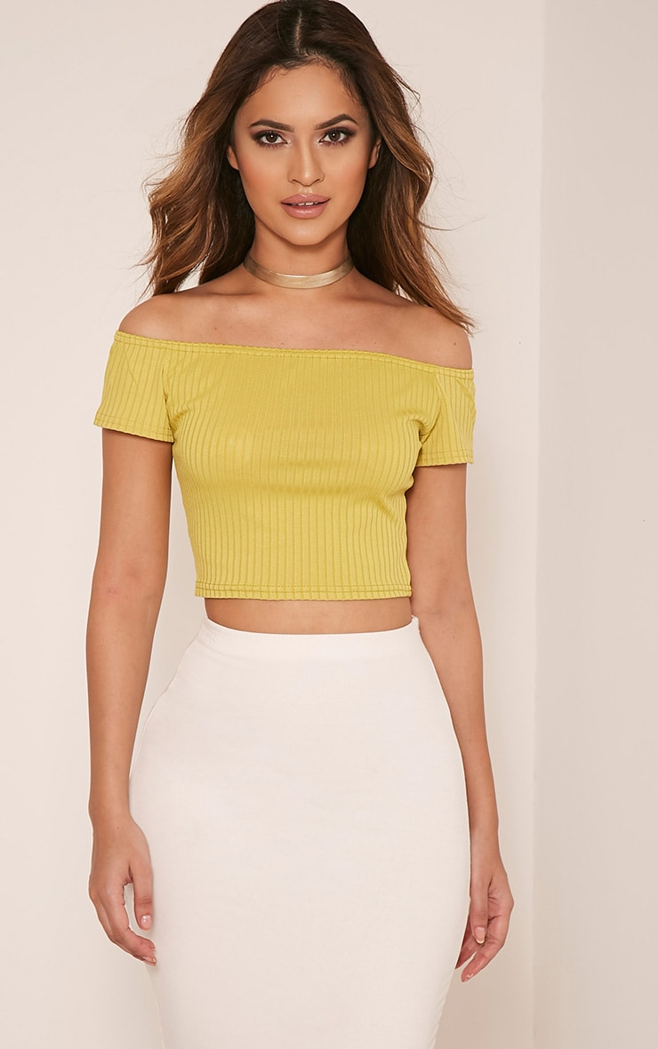 Vega Lime Ribbed Bardot Crop Top 1
