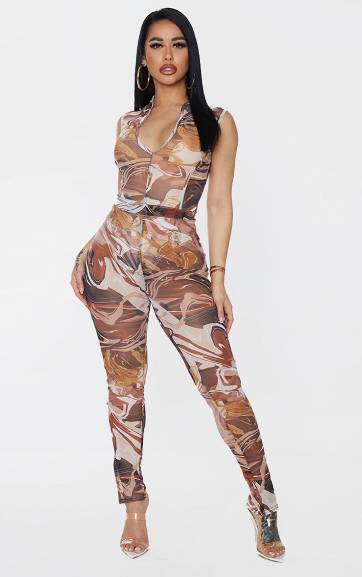 Shape Brown Marble Print Mesh Collar Detail Sleeveless Bodysuit 3
