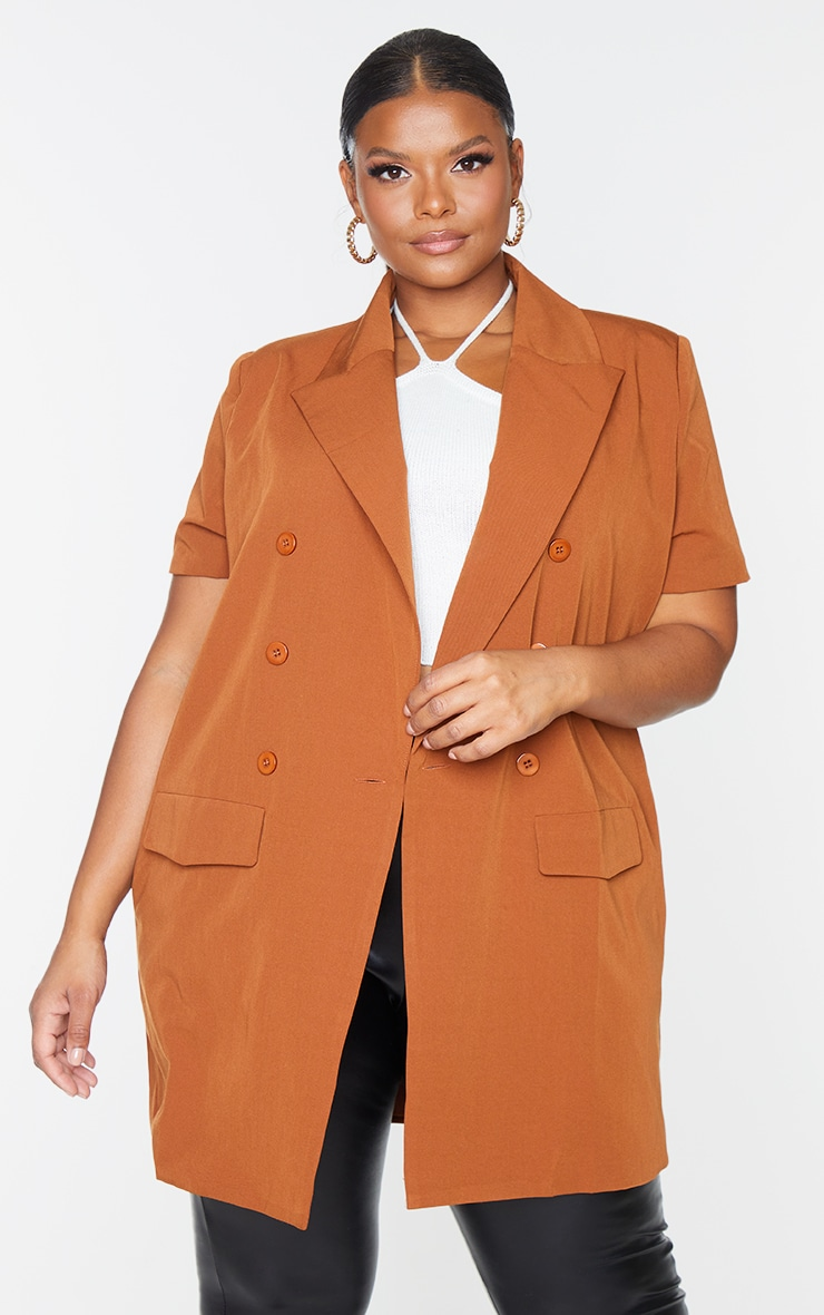 Plus Chocolate Woven Short Sleeve Longline Belted Blazer 1