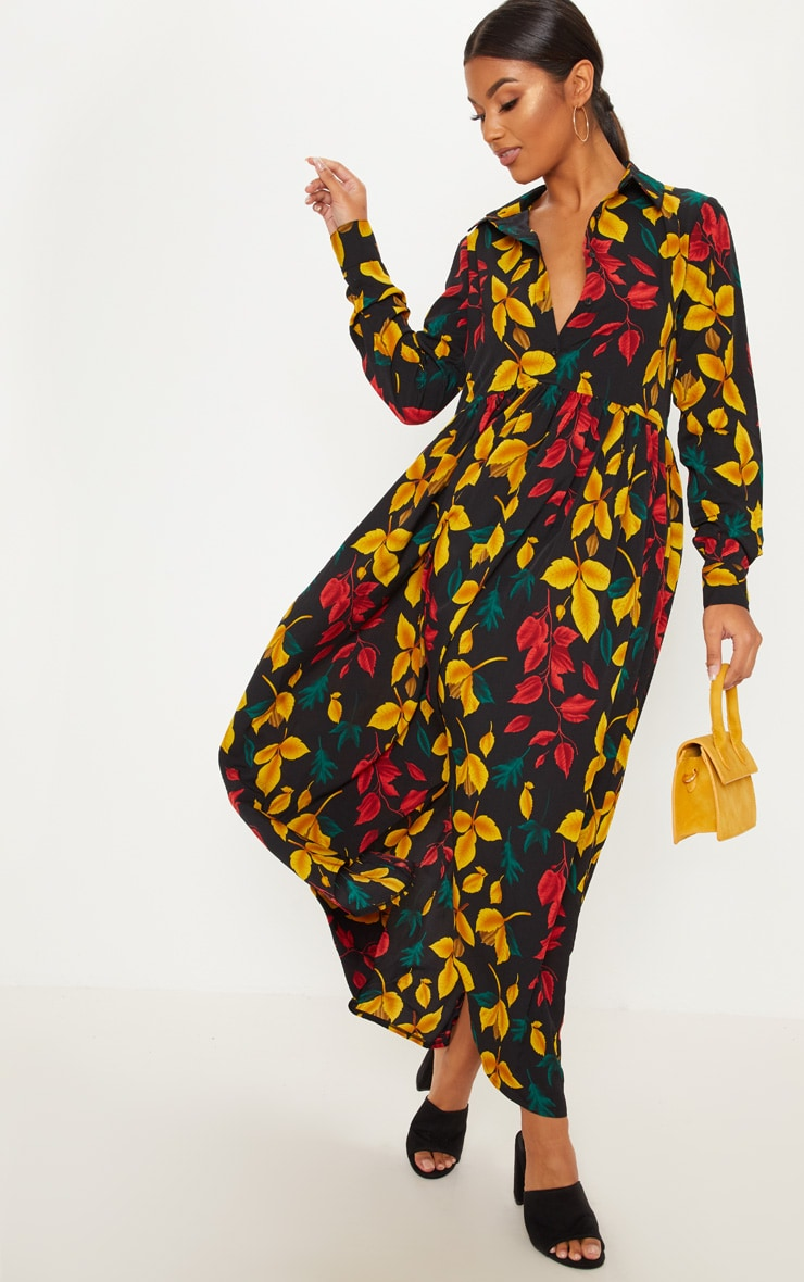 Black Floral Print Maxi Shirt Dress