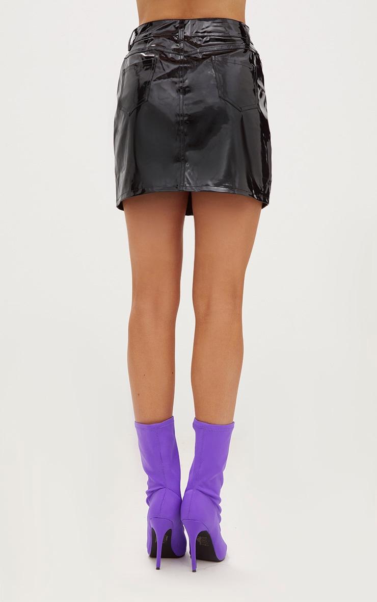 Black Vinyl Mini Skirt 3