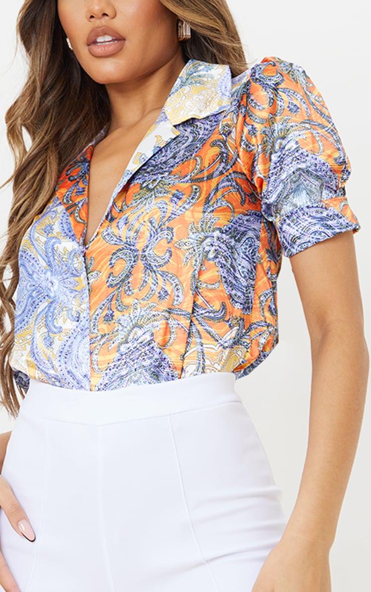 Multi Paisley Printed Satin Elasticated Short Sleeve Shirt 4