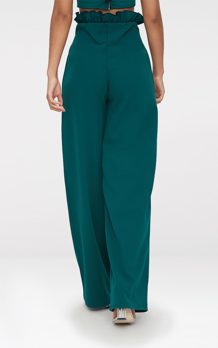 Emerald Green Crepe Paperbag Wide Leg Trousers 4