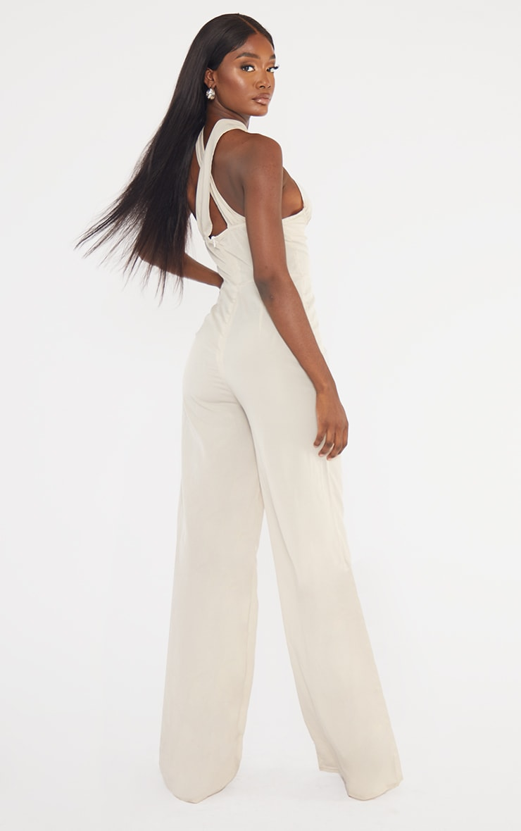 Tall  Stone Wrap Front Under Bust Wide Leg Jumpsuit 2