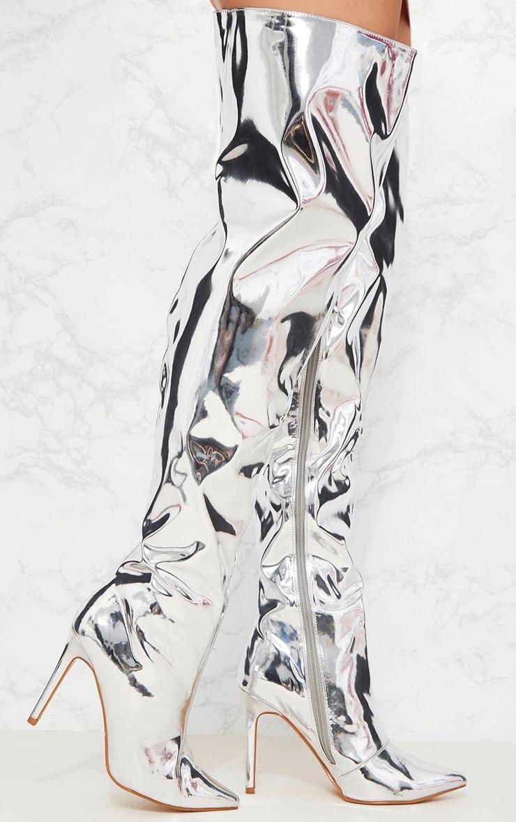 49475ff7d5e Silver Metallic Thigh High Boot image 1