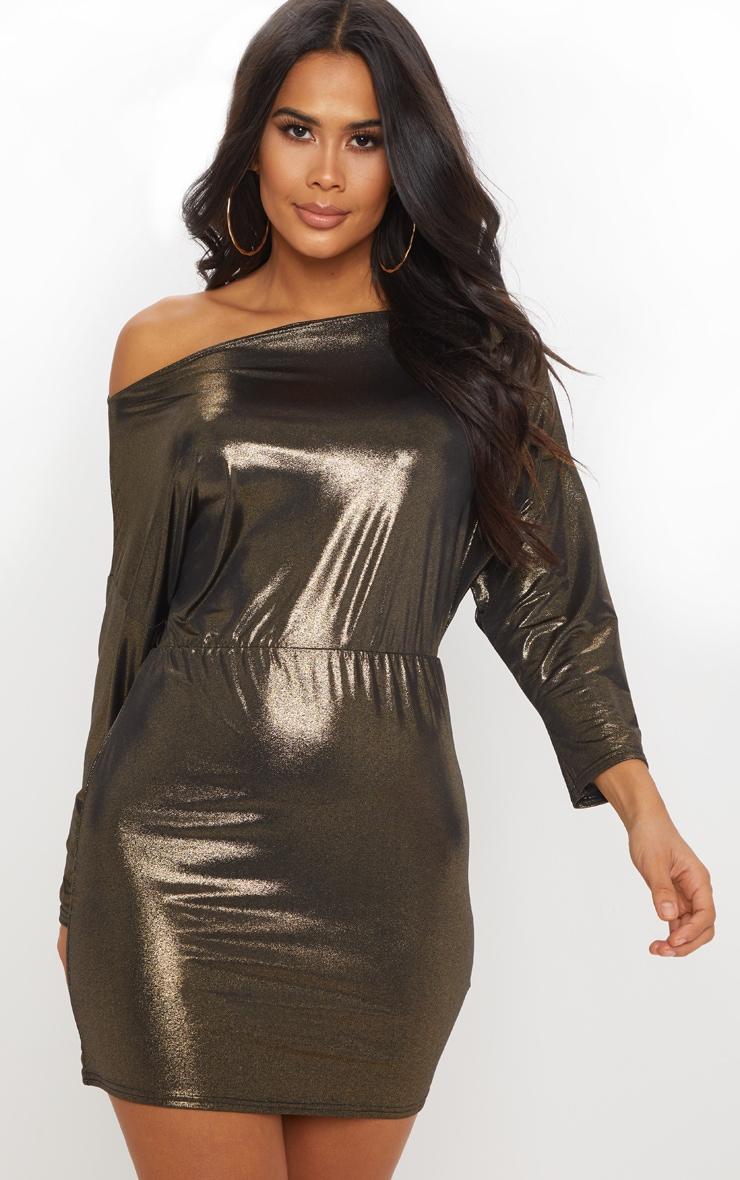 Gold Metallic Off Shoulder Bodycon Dress 1