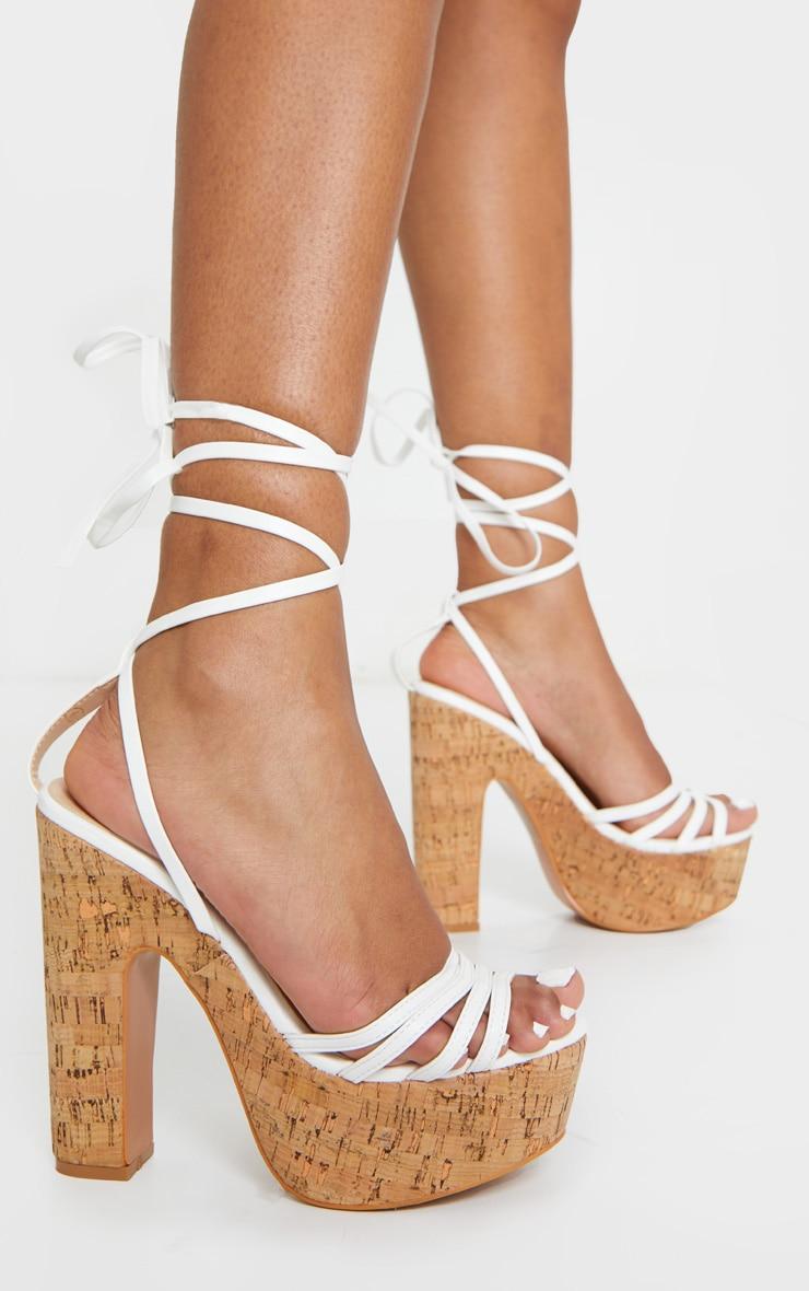 White Multi Strappy Ankle Tie Cork Platform Heeled Wedge Sandals 2