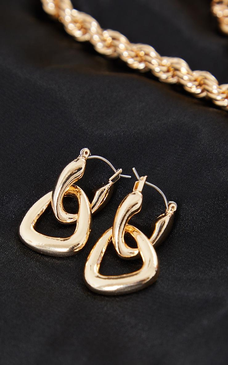 Gold Mini Double Chunky Triangle Hoop Earrings 2