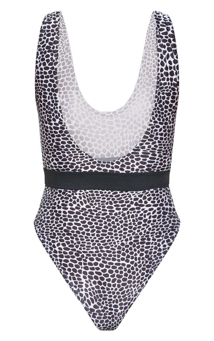 Black & White Lizard Print Elasticated Waist Swimsuit 8