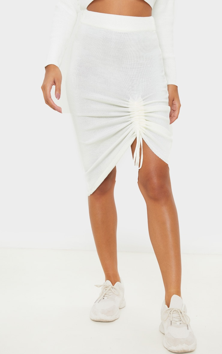 Ivory Ruched Front Knitted Midi Skirt 3