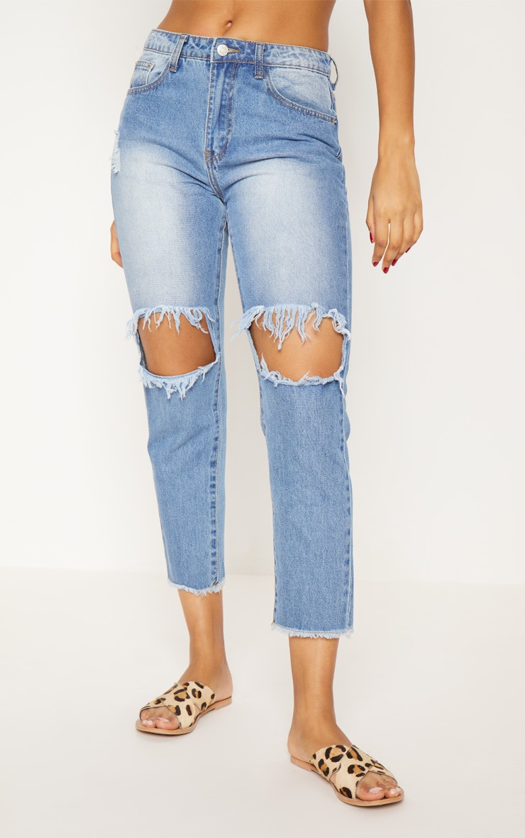Light Wash Open Knee Slim Fit Jean 3