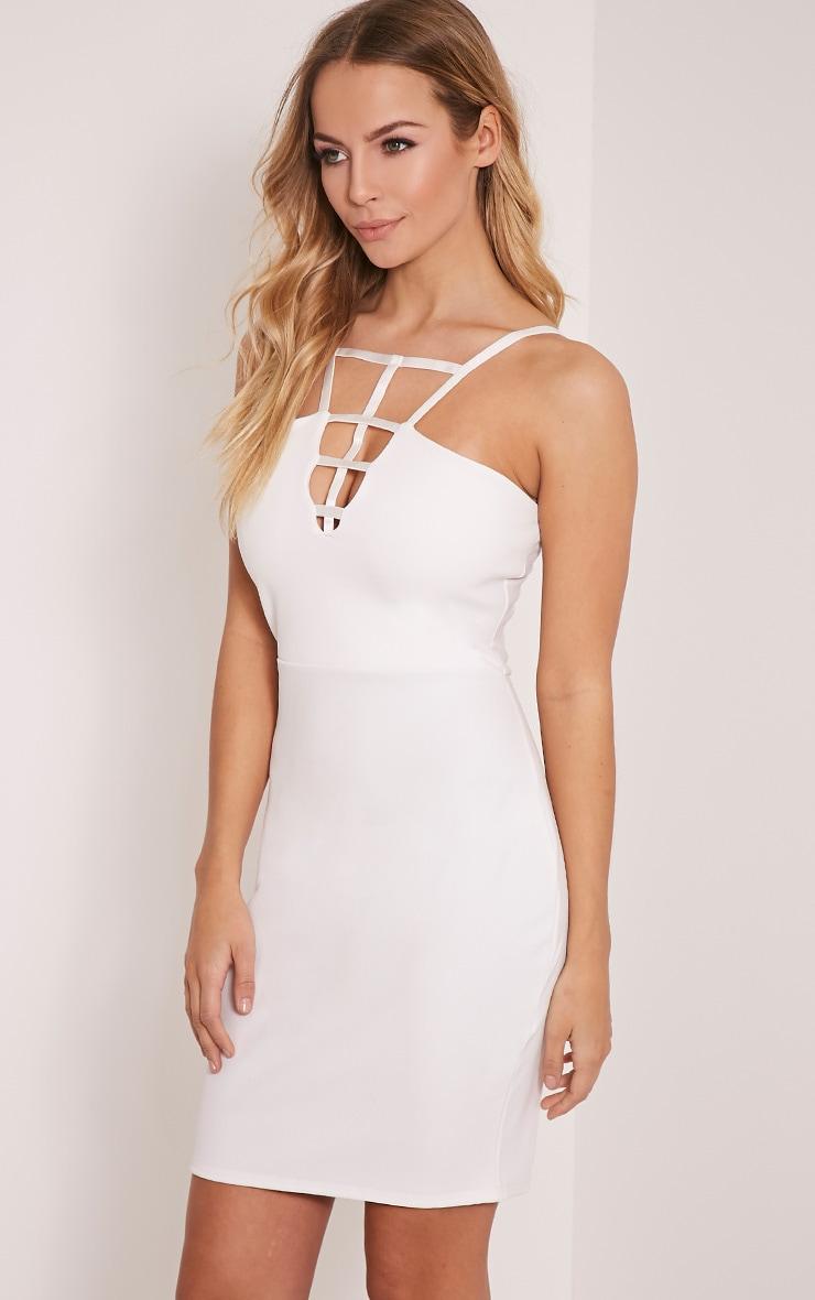 Kiera White Cage Detail Bodycon Dress 4