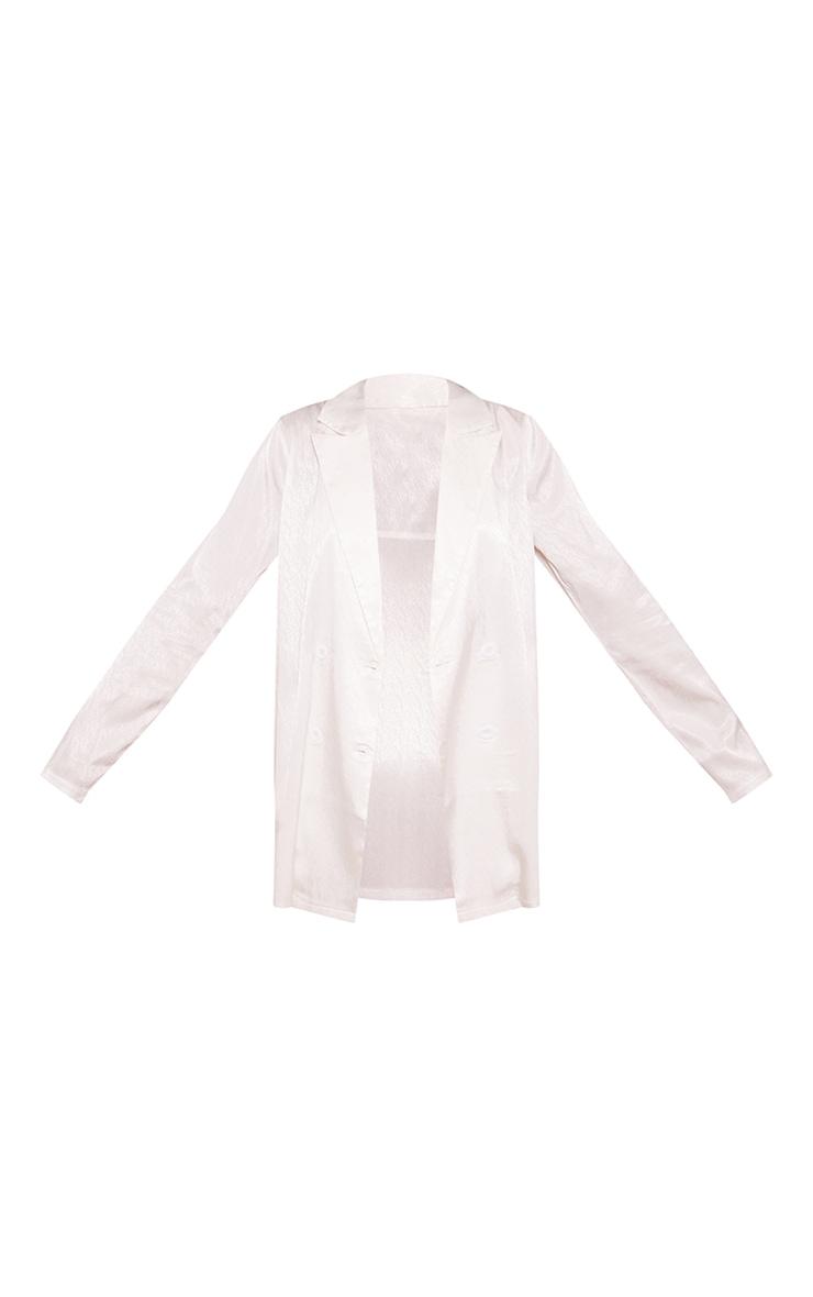 White Printed Satin Double Breast Lightweight Longline Blazer 5