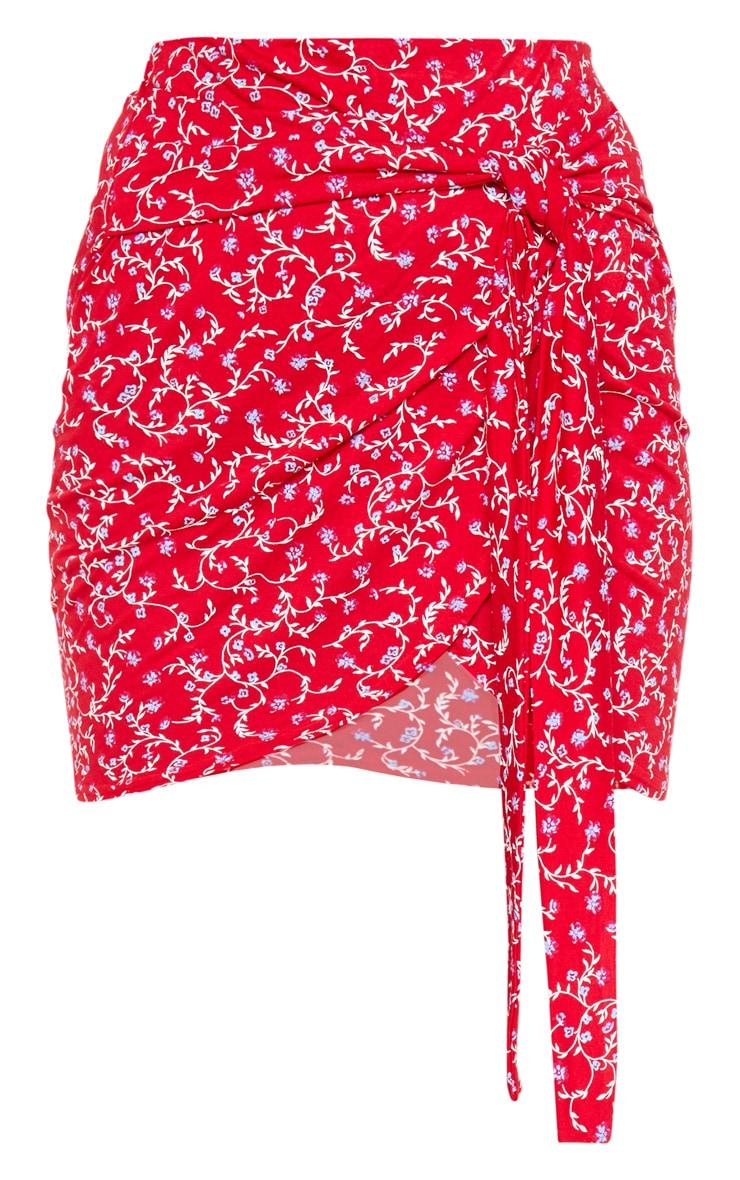 Red Ditsy Floral Jersey Tie Side Split Mini Skirt 3