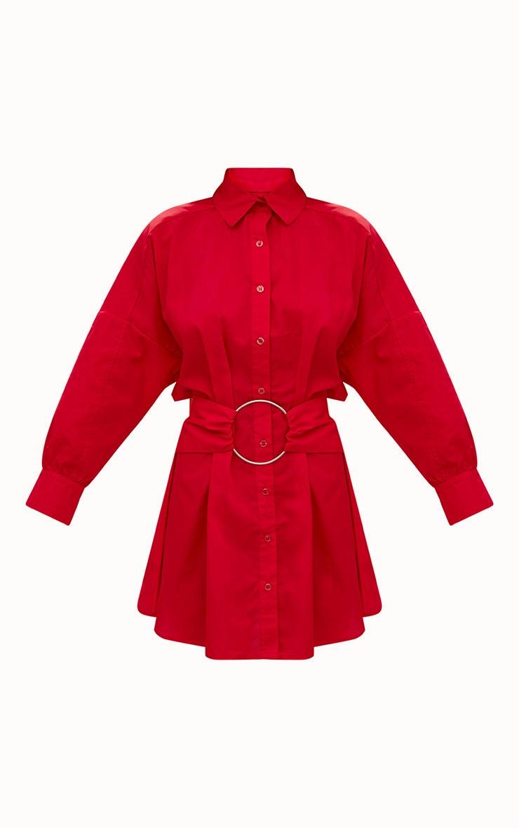 Red Ring Waist Detail Shirt Dress 3