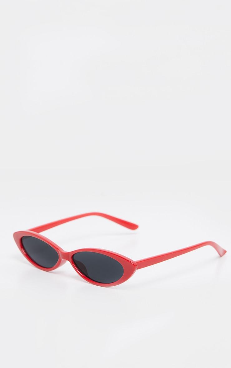 Red Frame Black Lens Slim Cat Eye Sunglasses 3