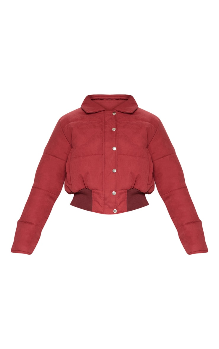 BURGUNDY Peach Skin Cropped Puffer Jacket 3
