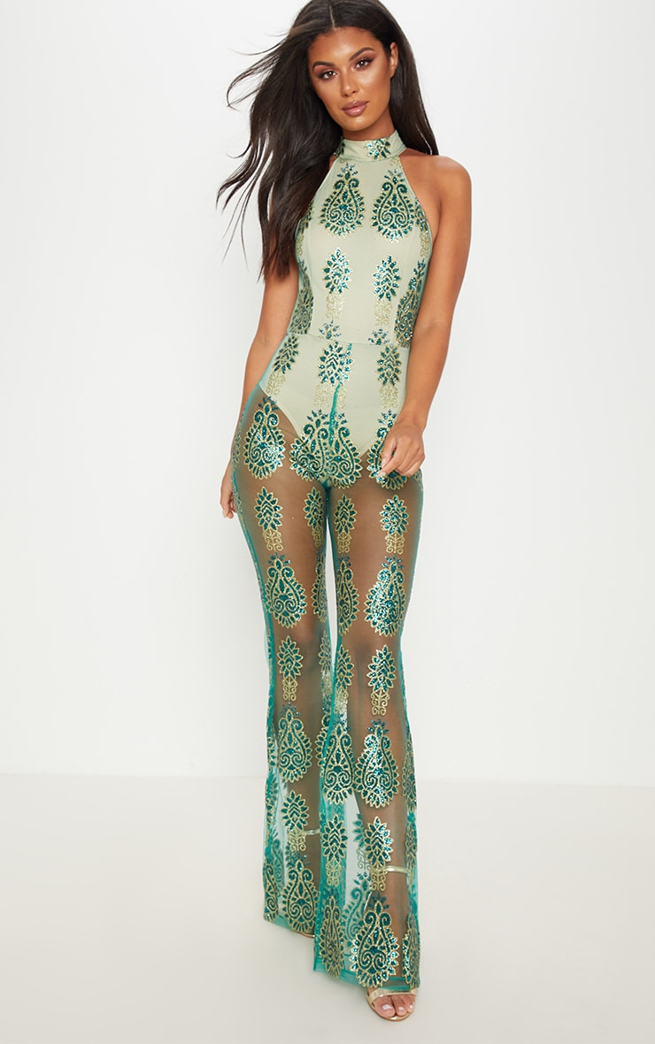 Green Glitter Paisley High Neck Jumpsuit