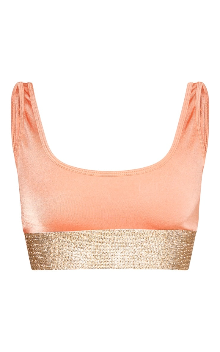 Peach Diamante Scoop Neck Bikini Top 5
