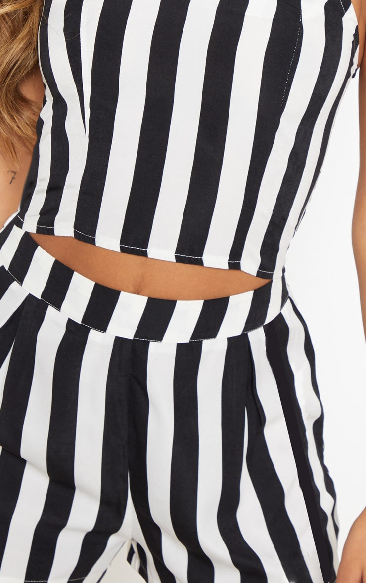 Black Stripe High Waisted Short 6