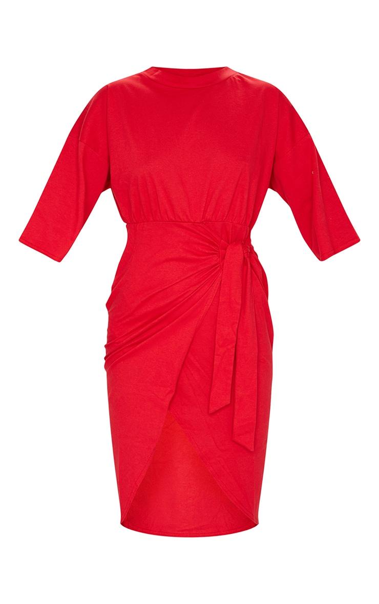Red Wrap Tie Detail T Shirt Dress 5