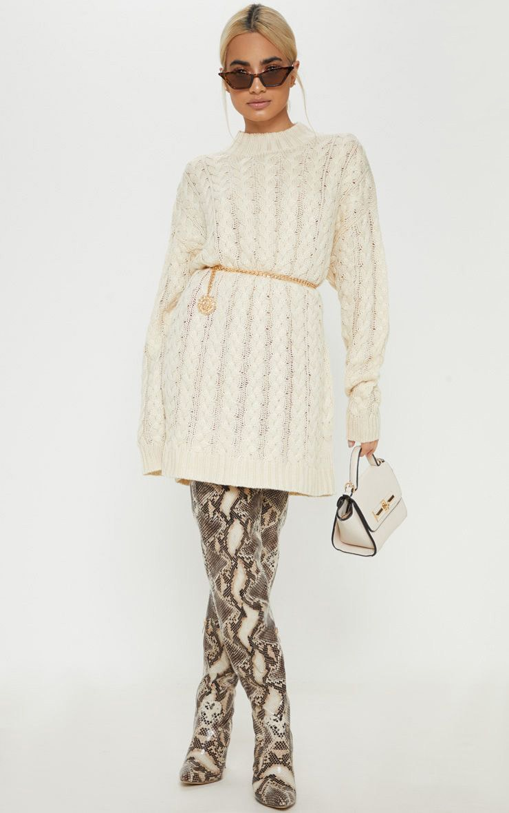 Petite Cream Oversized Cable Knit Dress 1