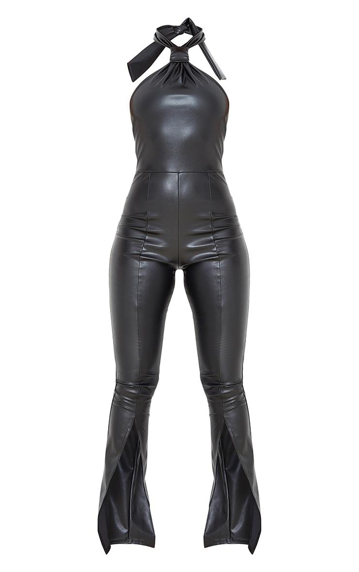 Black PU Knot Detail Split Hem Jumpsuit 5
