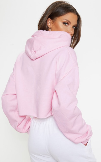 PRETTYLITTLETHING Light Pink Embroidered Crop Hoodie