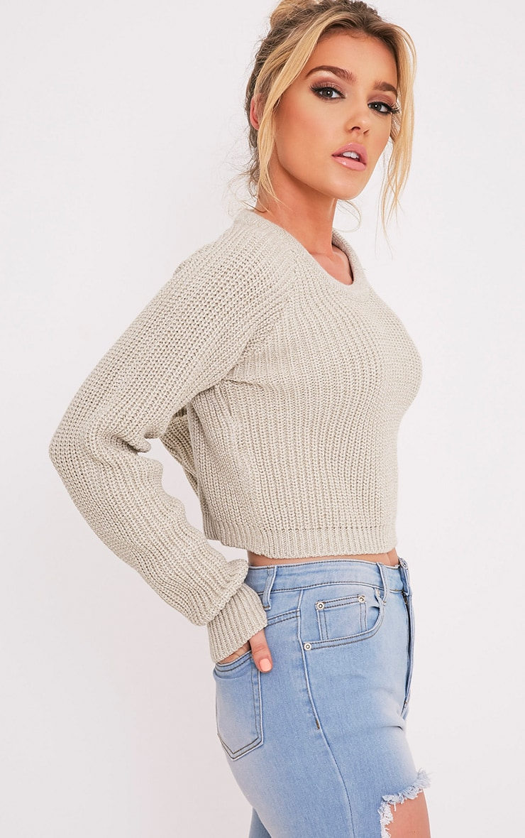 Oceana pull court gris pierre tricoté mixte 4