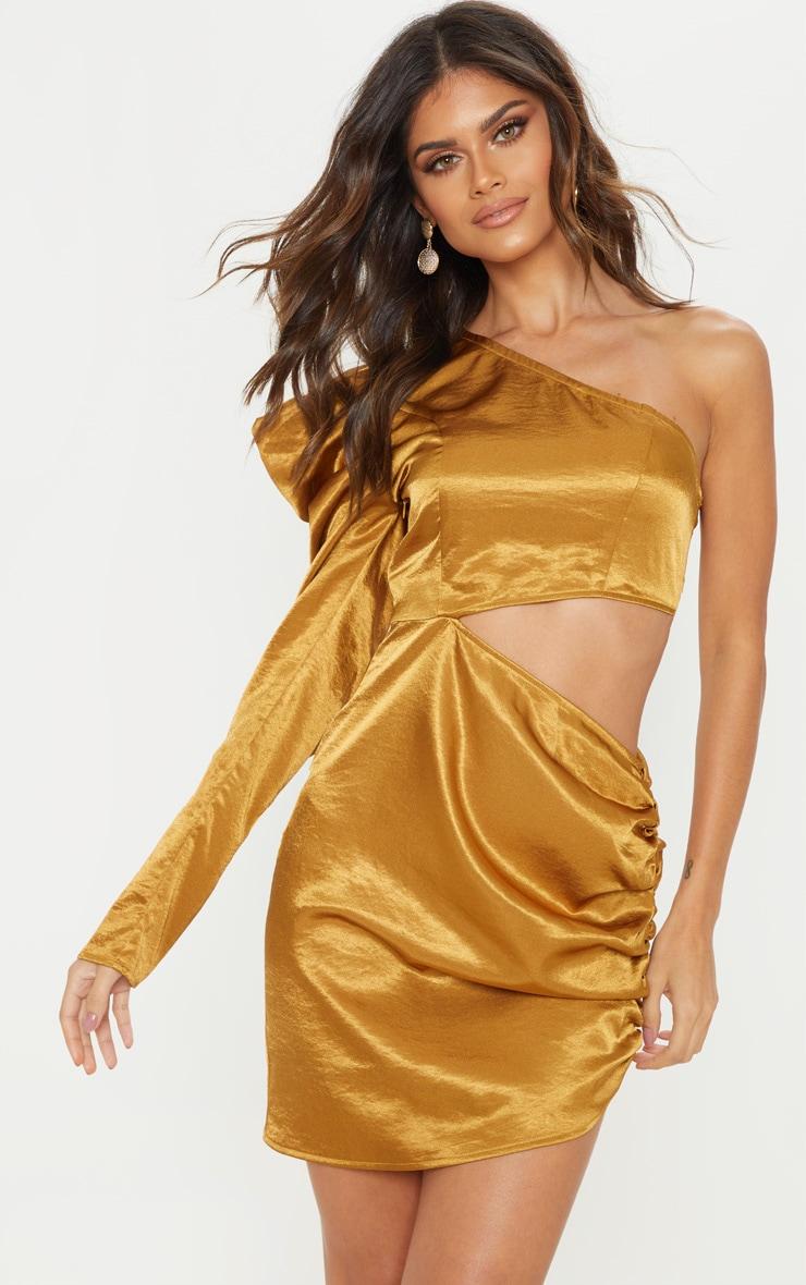 Golden Mustard One Shoulder Cut Out Bodycon Dress 1