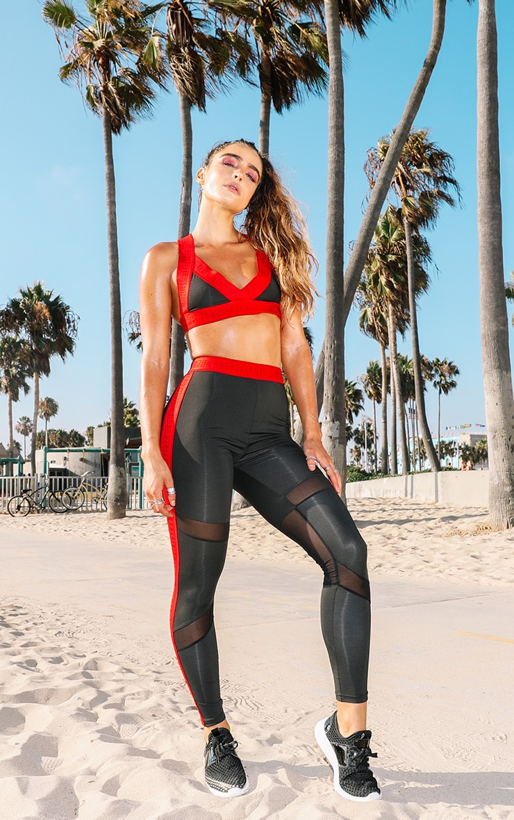 PRETTYLITTLETHING Red Band Leggings 1