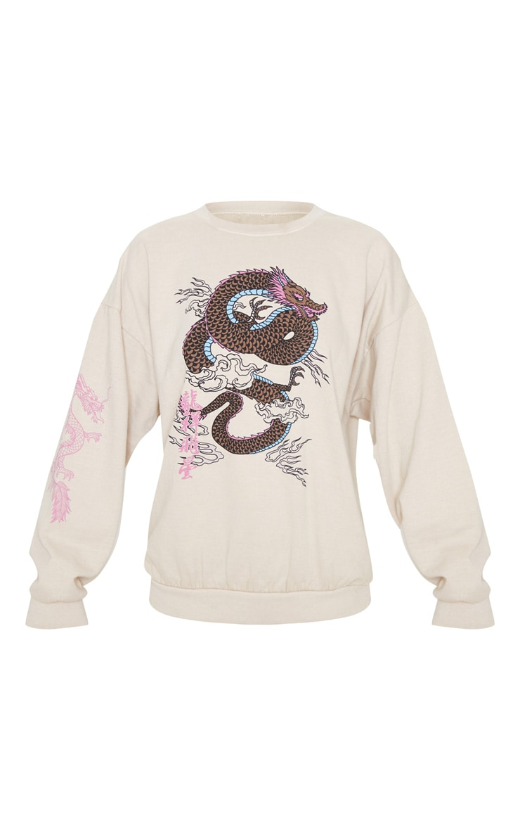 Sand Dragon Print Washed Long Sleeve Sweater 3