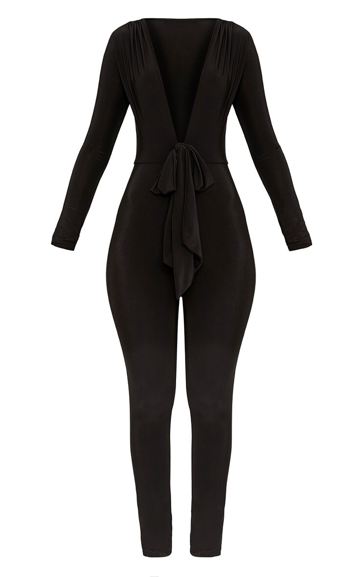 Alessia Black Slinky Knot Front Jumpsuit  3