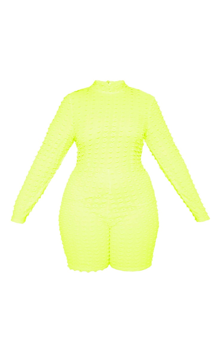 Plus Neon Yellow Crochet Unitard 3
