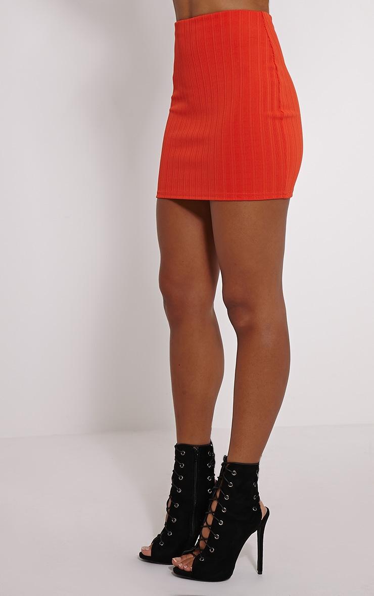 Martina Orange Ribbed Mini Skirt 3