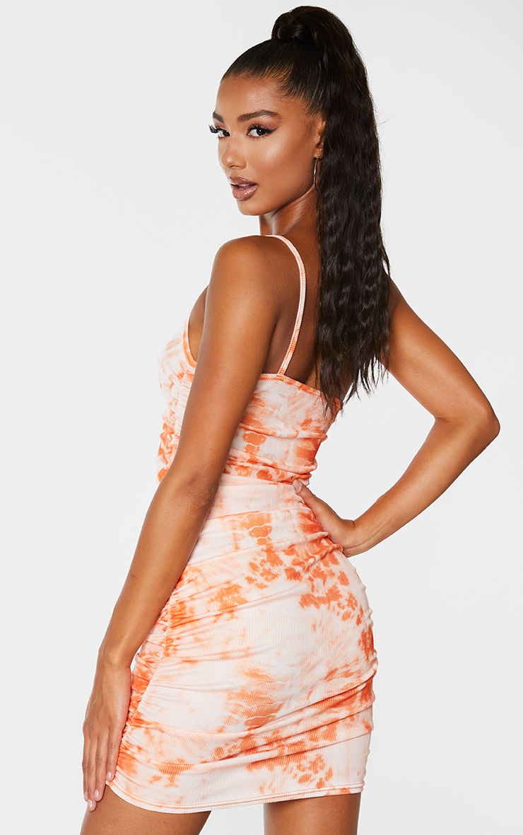 Orange Tie Dye Ribbed One Shoulder Ruched Bodycon Dress 2